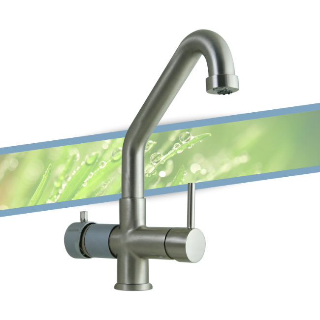 Five-way mixer tap with low spout - nickel-colored