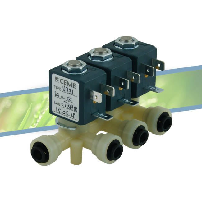 Triple solenoid valve outlet 6mm 24V